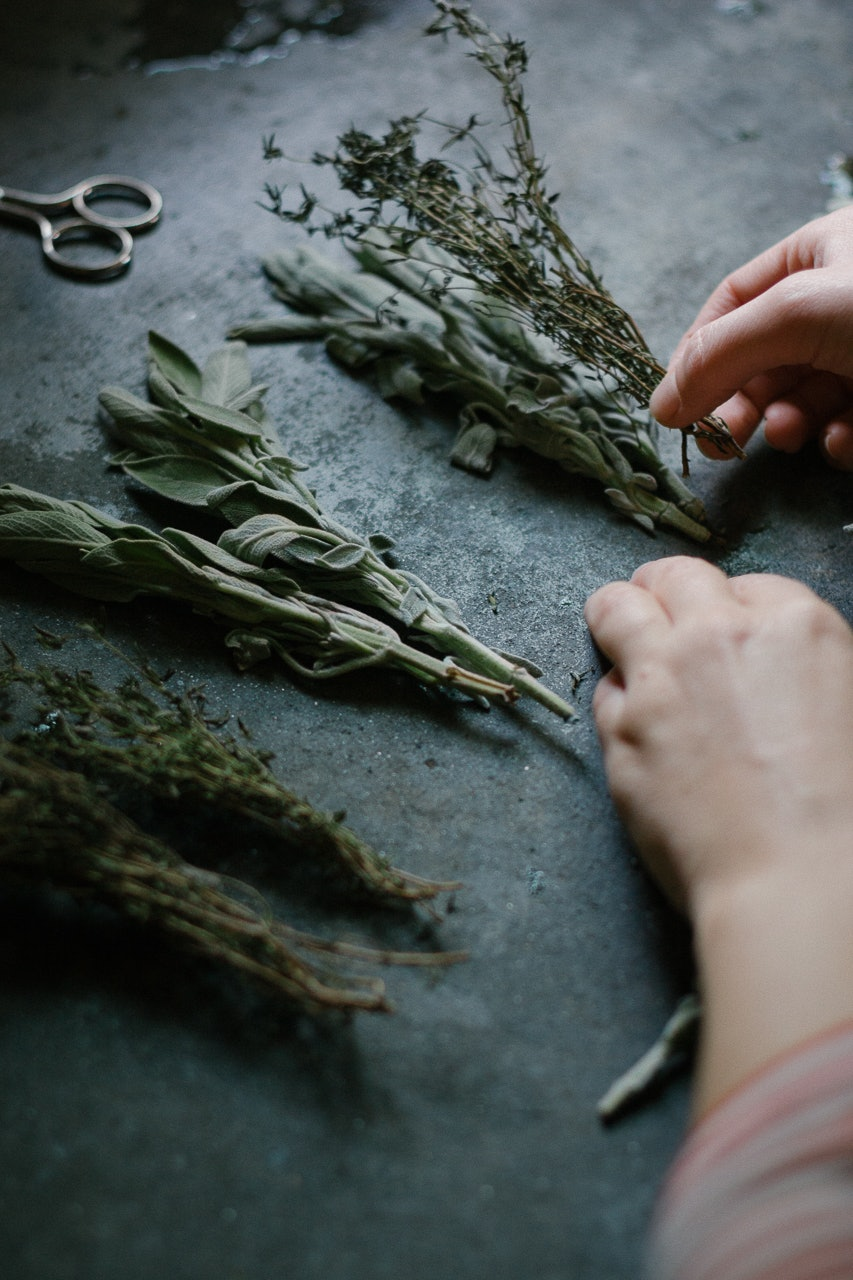 Sage + Rosemary Smudge Wand DIY by Conscious by Chloé