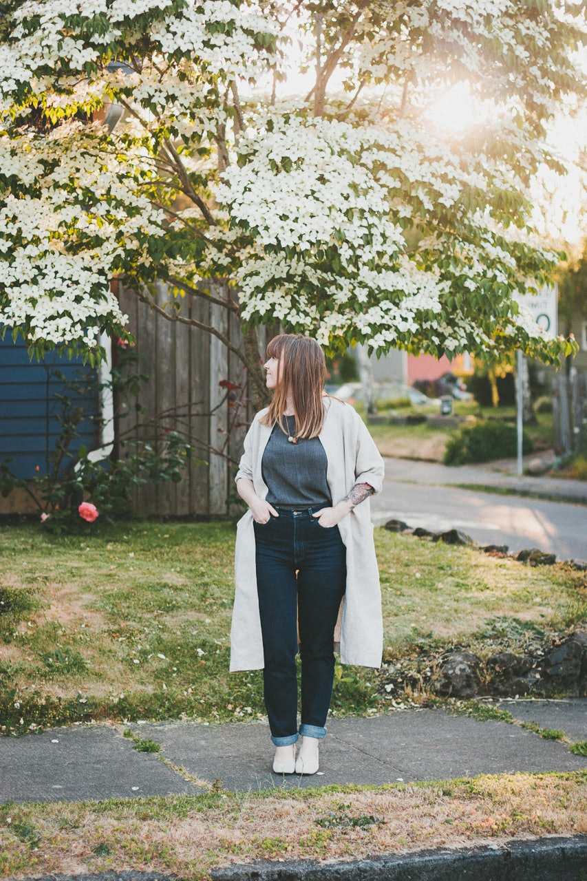 Only Child Trench and Everlane  Day Heels Look by Conscious by Chloé