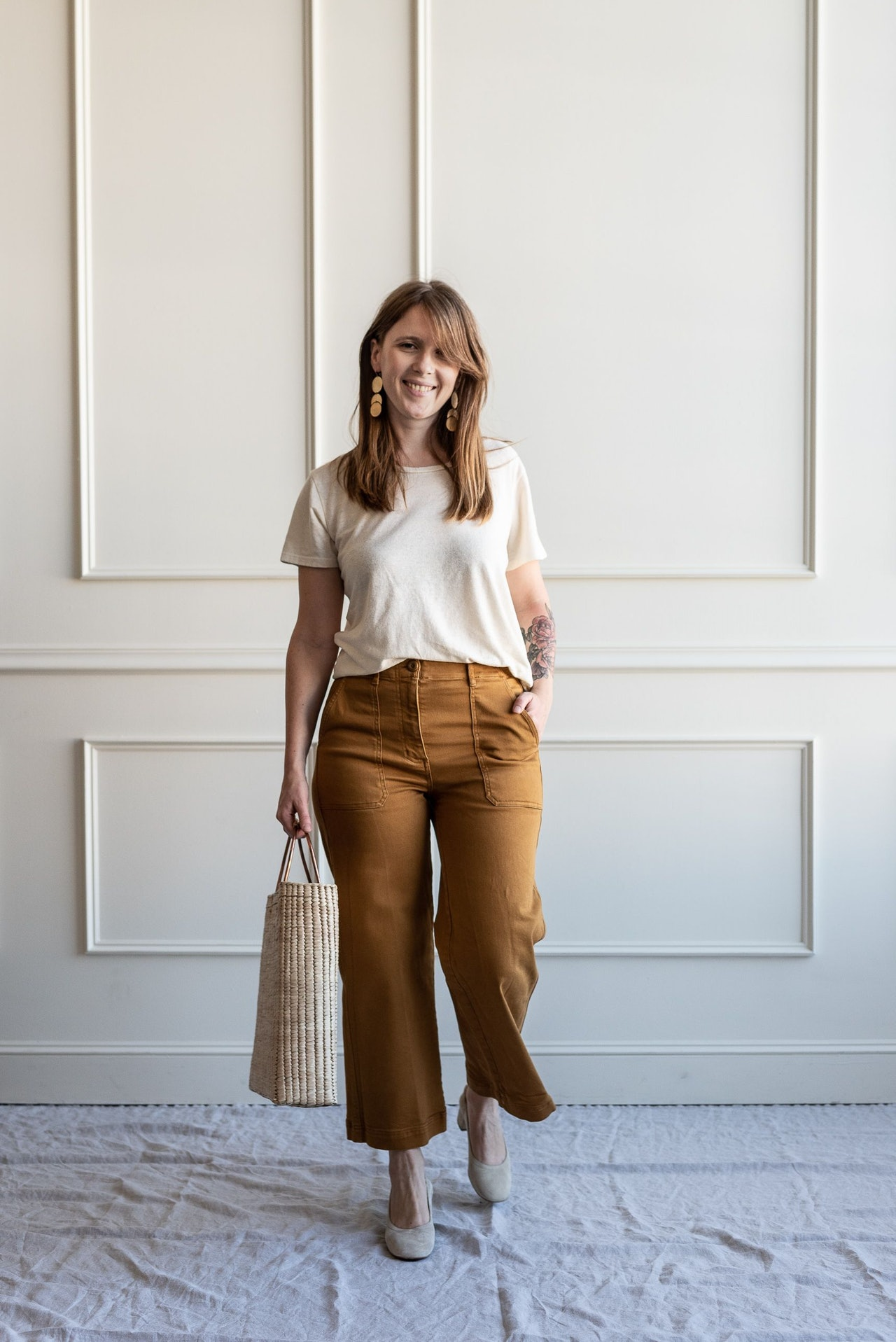 Fall 10x10 Day 1 Look - Everlane Utility Pants in Golden Brown by Conscious by Chloé