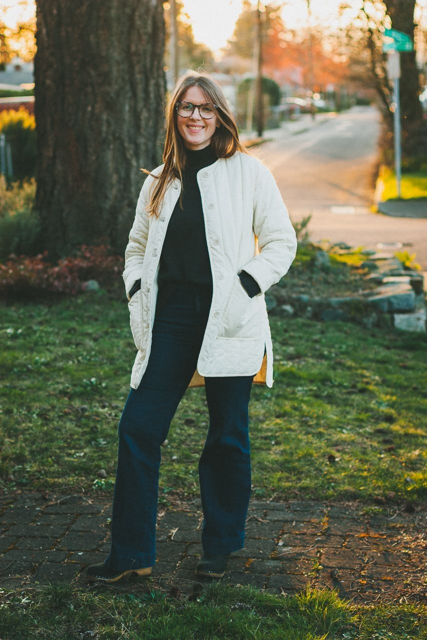 Everlane Cotton Quilted Jacket and Everlane Modern Flare Jean by Conscious by Chloé