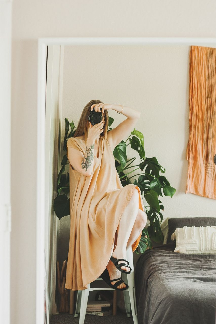 Elizabeth Suzann Harlow Silk Crepe Dress and Everlane Form Three Strap Sandals Black by Conscious by Chloé