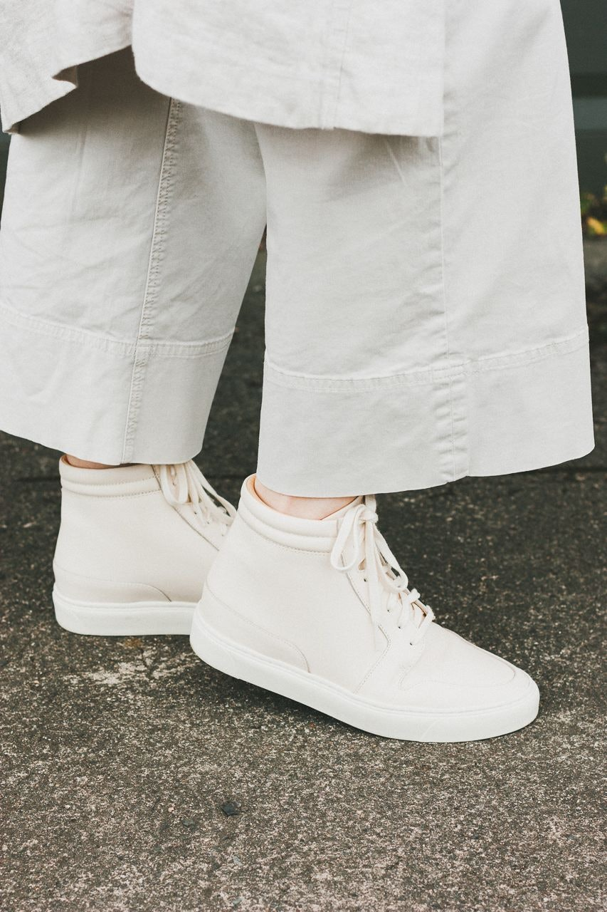 Nisolo Reina High Top Sneakers in Bone by Conscious by Chloé