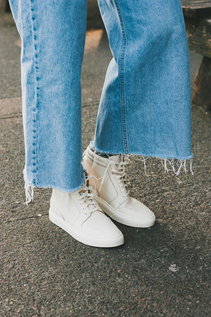 Nisolo Reina High Top Sneakers Bone & Babba Cardigan 19 Mist by Conscious by Chloé