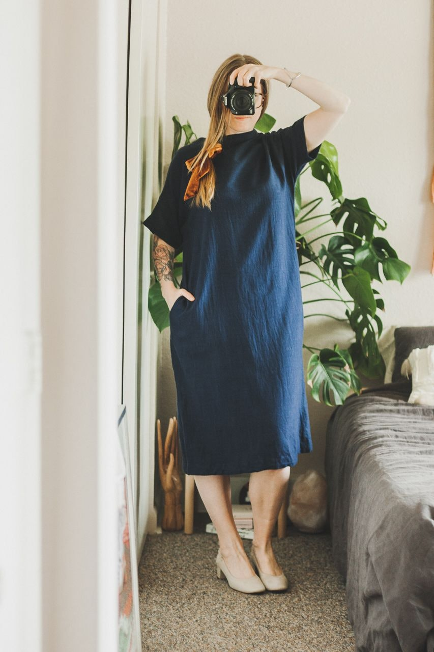 Runaway Bicycle Blue Dress and Everlane Day Heel Natural Suede by Conscious by Chloé