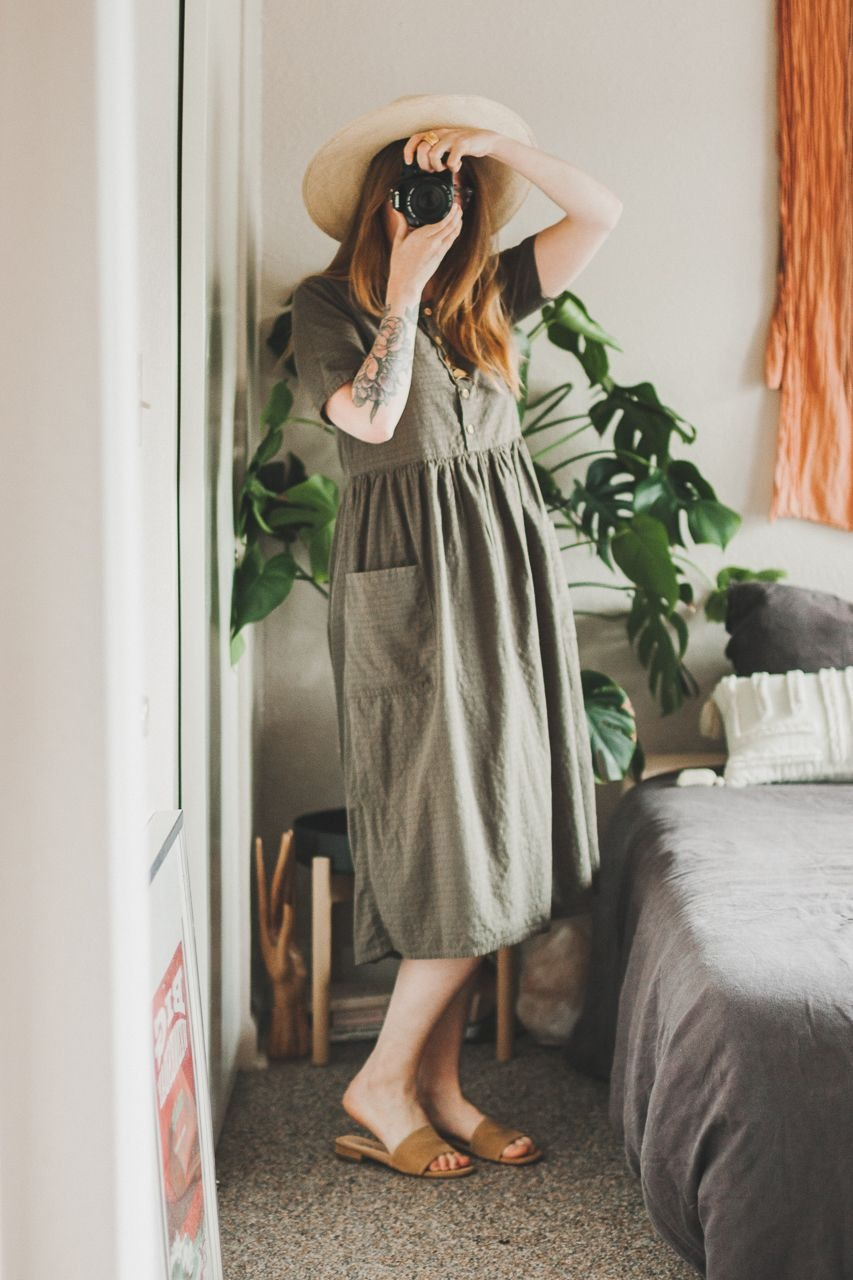 Thrifted Green Dress and Brookes Boswell Hat by Conscious by Chloé