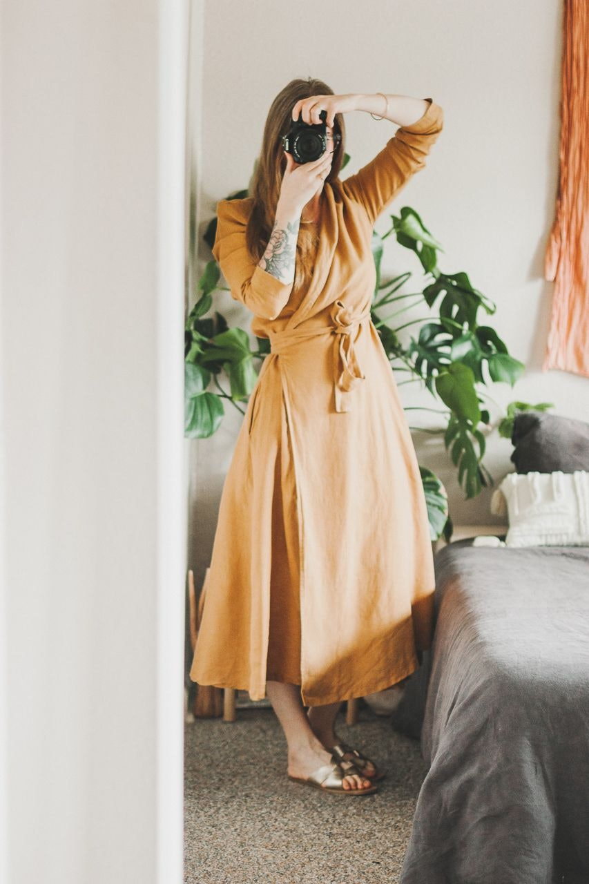 Thrifted Yellow Linen Wrap Dress by Conscious by Chloé