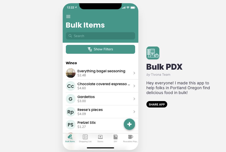 The Portland Bulk Inventory App by Shannon Tivona for Conscious by Chloé